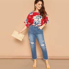 Load image into Gallery viewer, Bohemian Flounce Sleeve Floral Print Blouse