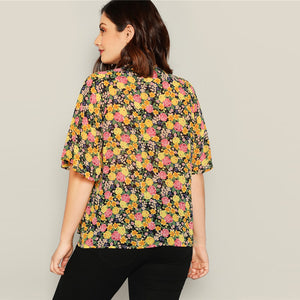 Multicolored Knot Neck Blouse