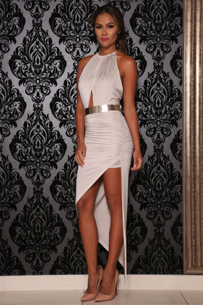 Bombshell Asymetrical dress (Oyster) - Kourvosieur