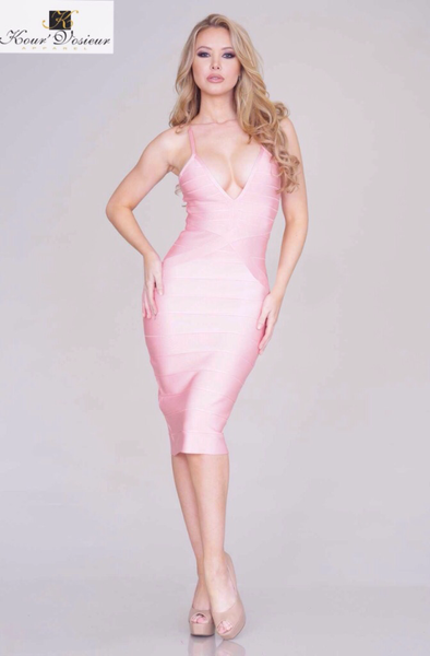 Julianna midi bandage dress (pink) - Kourvosieur