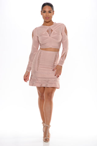 Cheyenne jaquard 2 pc bandage dress (nude) - Kourvosieur