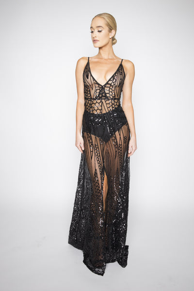 Cristal sequined gown (black)