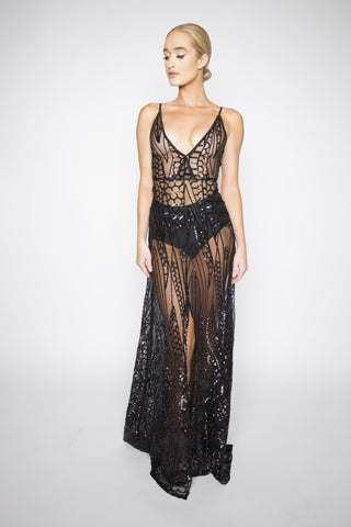 Cristal sequined gown - Kourvosieur