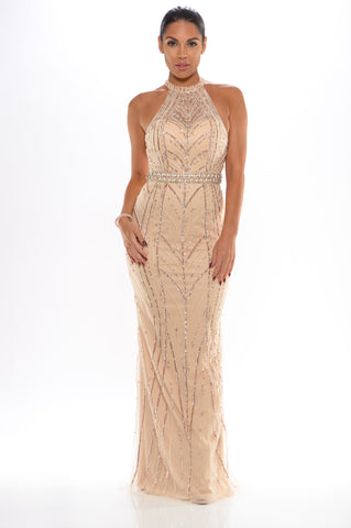 Mystique handbeaded gown (nude/gold) - Kourvosieur