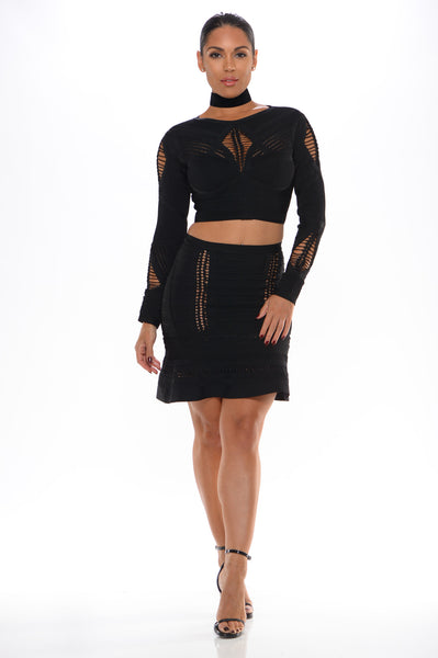 Cheyenne jaquard 2 pc bandage dress (black) - Kourvosieur