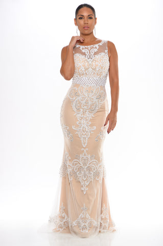 Selena jeweled gown (white) - Kourvosieur