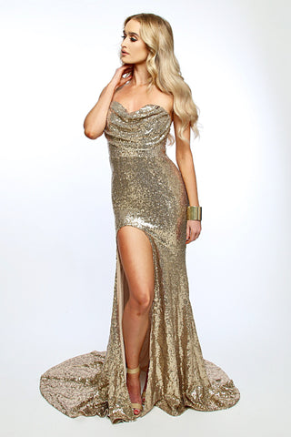 Celli sequined gown (gold) - Kourvosieur
