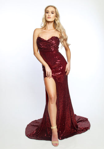 Celli sequined gown (ruby red) - Kourvosieur