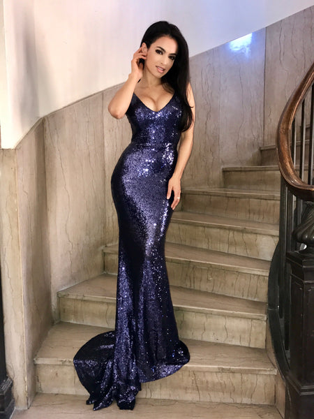 Yasmine sequined gown (navy) - Kourvosieur