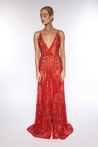 Cristal sequined gown (red) - Kourvosieur