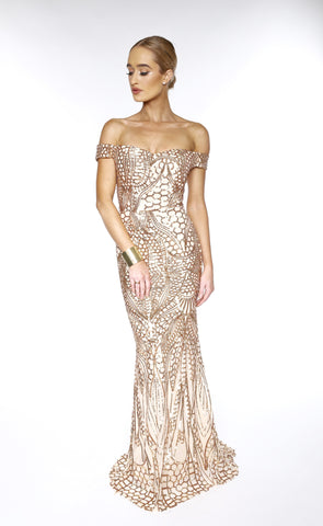 Asyah Nilanti sequined gown (gold)