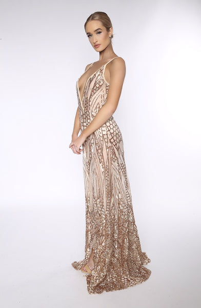 Cristal sequined gown (gold) - Kourvosieur