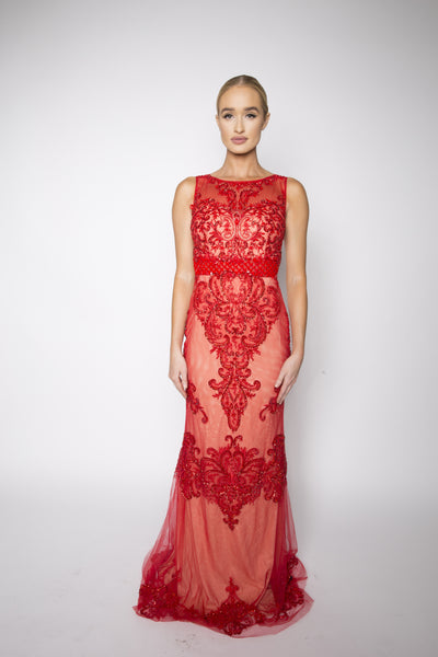 Selena jeweled gown (crimson) - Kourvosieur