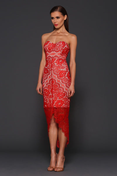 Elle Zeitoune Macey lace dress (red) - Kourvosieur