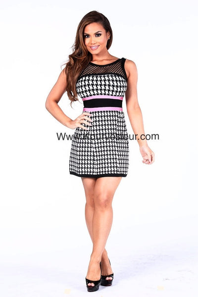 Kayla pleated houndstooth bandage dress - Kourvosieur