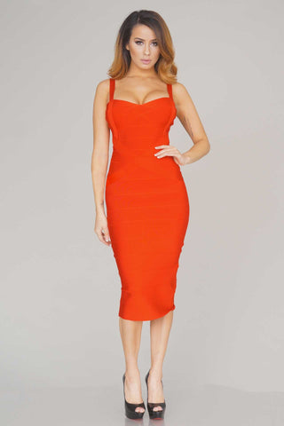 Rissa structured midi bandage dress (Red) - Kourvosieur