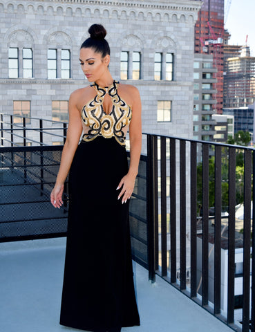 Rianne Beaded gown black - Kourvosieur