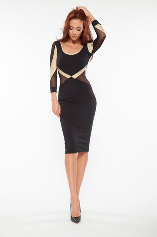 Quontum Black/gold mesh midi dress - Kourvosieur