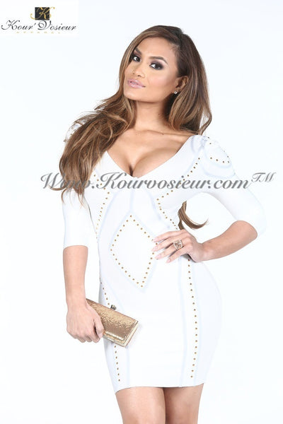 Shyla studded backless bandage dress - Kourvosieur