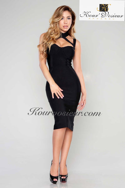 Pasha Bandage Dress (Black) - Kourvosieur