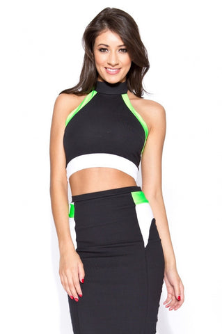 Quontum Black/Lime Flash Halter Midi 2 Piece - Kourvosieur