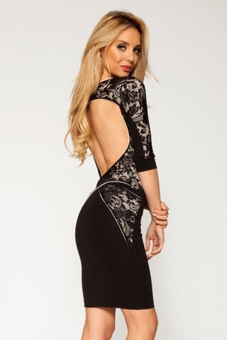 Quontum Open Back Lace Strap Dress - Kourvosieur