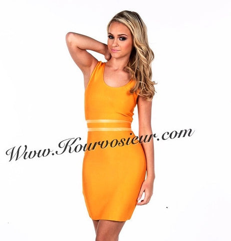 Orange Blossom mesh inset bandage dress - Kourvosieur