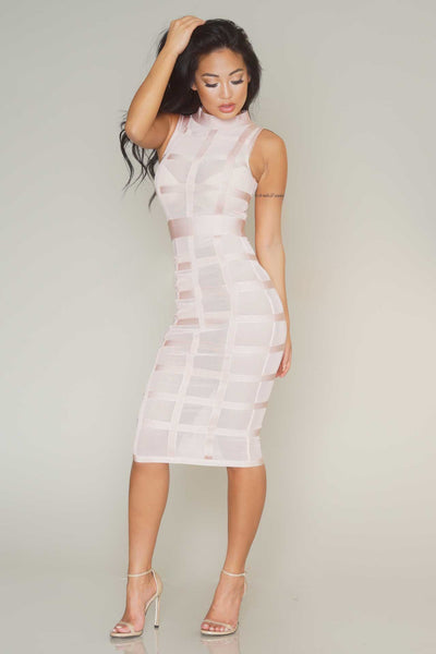 Caged midi mesh bandage dress (blush) - Kourvosieur