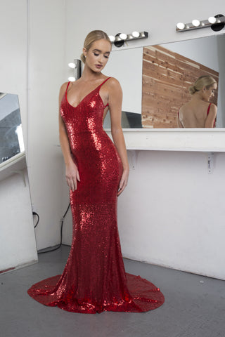Yasmine Sequined mermaid gown (red) - Kourvosieur