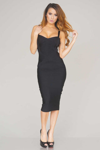 Rissa structured midi bandage dress (Black) - Kourvosieur