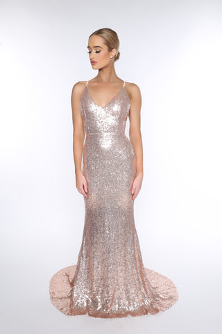 Yasmine sequined gown (rose gold)