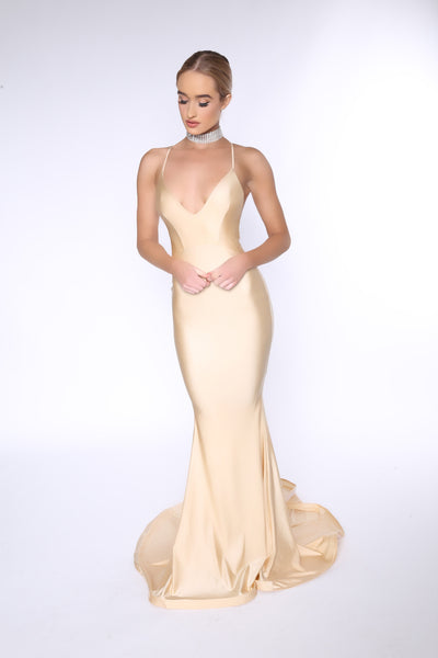 Asyah - Mermaids Are Real gown (oyster) On SALE - Kourvosieur