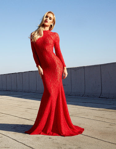 Asyah Custom LOVE LOST lace gown (red) - Kourvosieur