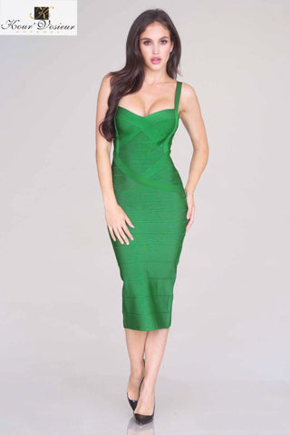 Rissa structured midi bandage dress (emerald) - Kourvosieur