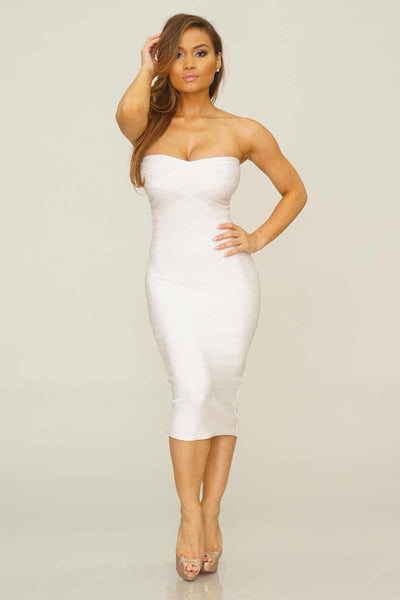 Desiree Midi bandage dress (white) - Kourvosieur