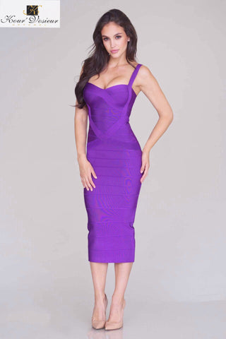 Rissa structured midi bandage dress (purple) - Kourvosieur
