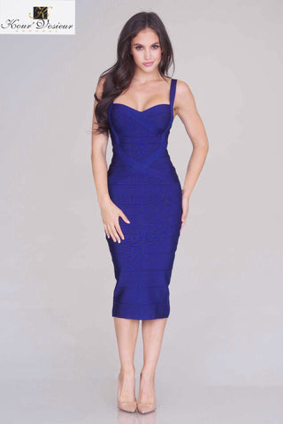 Rissa structured midi bandage dress (navy) - Kourvosieur