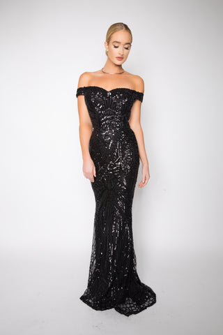 Asyah Nilanti sequined gown (black)