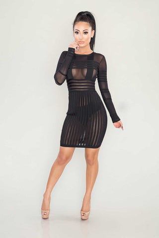 Bailey mesh bandage dress - Kourvosieur