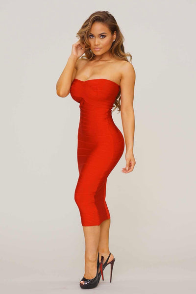 Desiree midi strapless bandage dress (4 colors) - Kourvosieur
