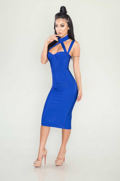 Pasha bandage dress (blue) - Kourvosieur