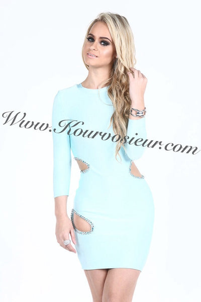 Diamond Cutout Bandage Dress - Kourvosieur