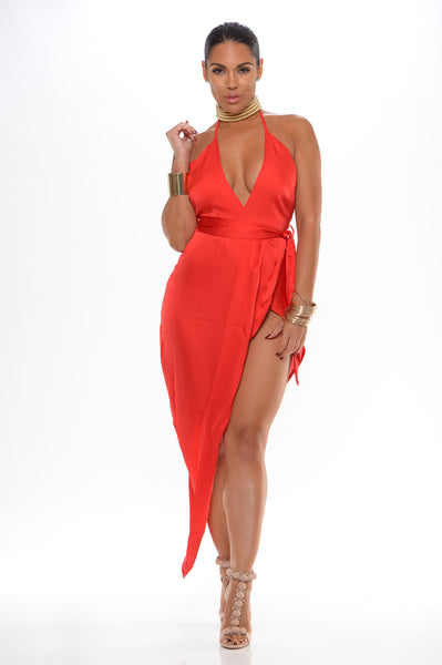Sia silk wrap dress (red) - Kourvosieur