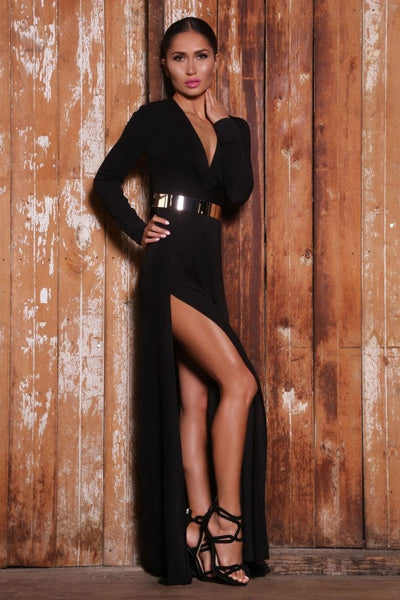 Harper Belted dress (black) - Kourvosieur