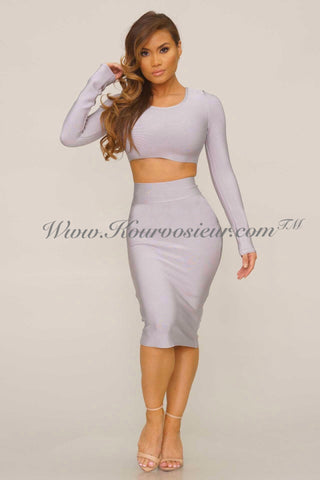 Tierra bandage 2 piece dress (grey) - Kourvosieur