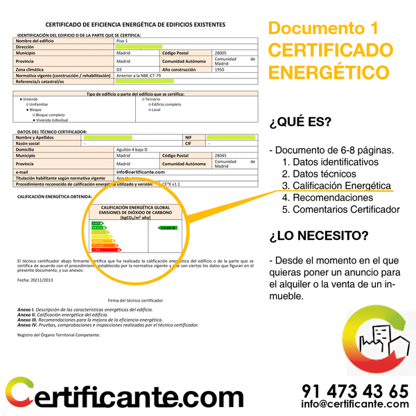 el documento final del certificado energético