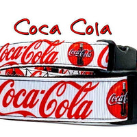 "Coca Cola Dog collar handmade adjustable buckle collar 5/8"" wide leash fabric - Furrypetbeds"
