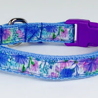 "Flowers cat or small dog collar 1/2"" wide adjustable handmade bell leash - Furrypetbeds"