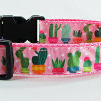 "Cactus girl dog collar handmade adjustable buckle collar 1"" or 5/8""wide or leash - Furrypetbeds"