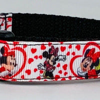 "Minnie mouse dog collar handmade adjustable buckle collar 5/8""wide leash fabric - Furrypetbeds"